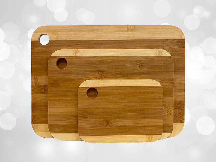 Three Bamboo Cutting Boards at three different sizes