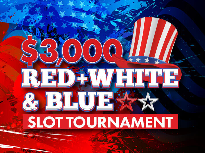 $3,000 Red White and Blue Slot Tournament Logo
