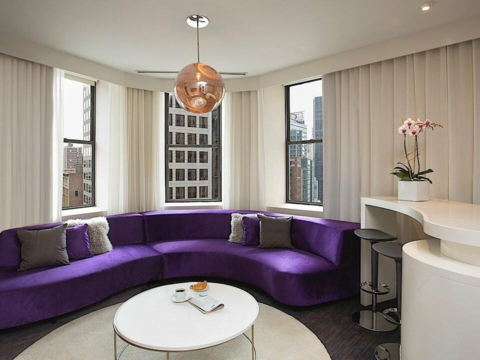Separate living room in Platinum Suite at Dream Midtown NYC