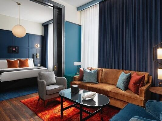 Separate Livingroom space in the Gold Suite at Dream Nashville
