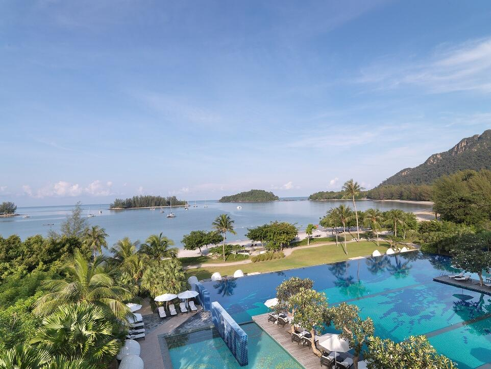 Aerial view of the pool and the ocean from The Danna Langkawi