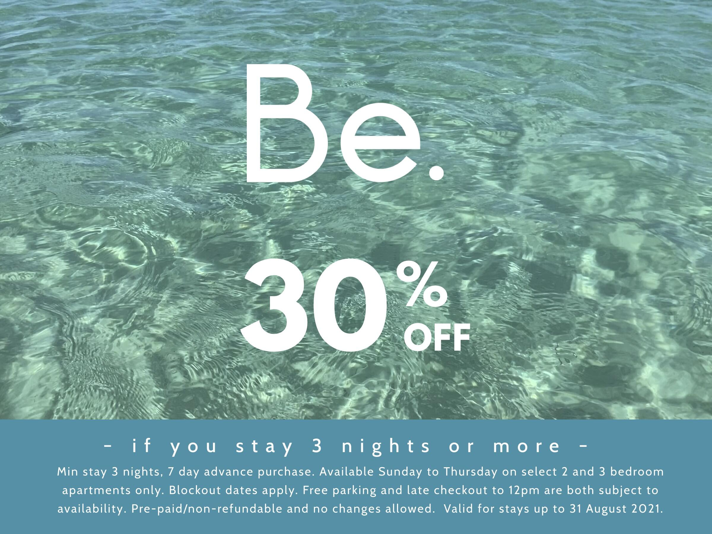 Be 30% off offer poster