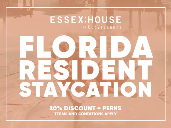 Florida Resident Staycation offer poster at Essex House by Clevelander