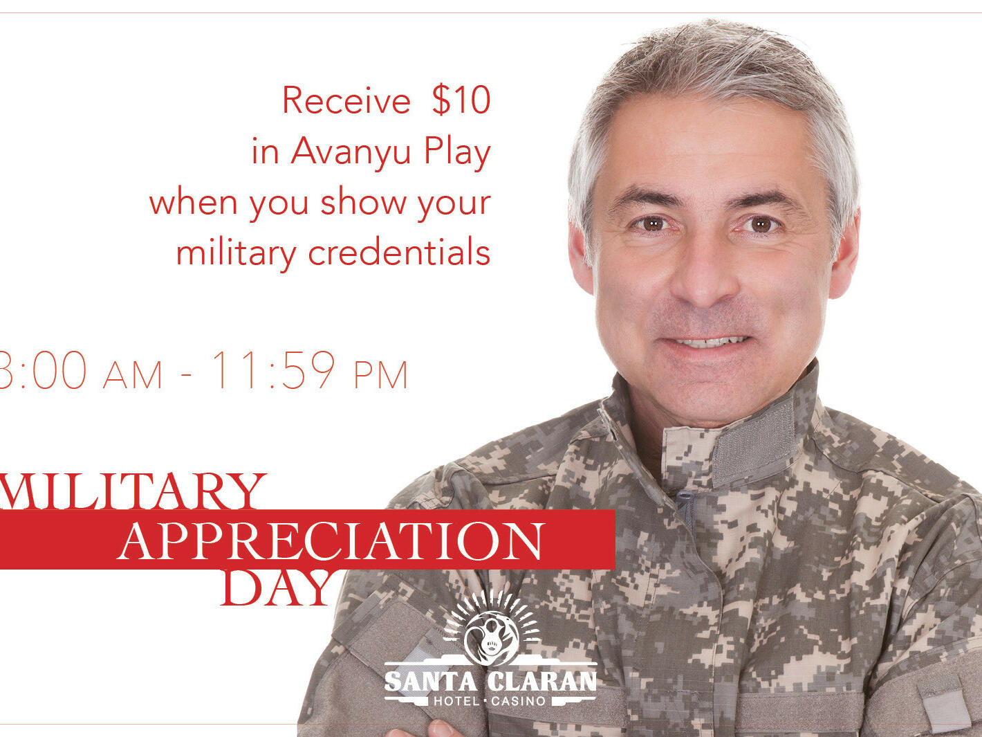 Poster of Military Appreciation Day at Santa Claran Hotel Casino