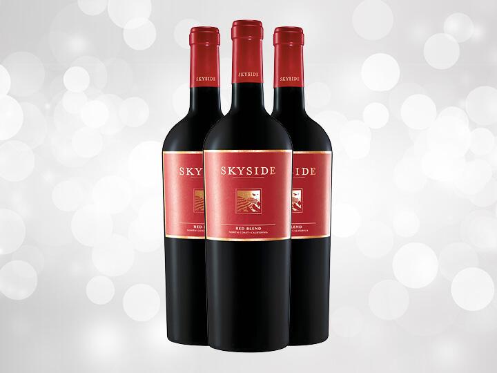 Three Bottles of Skyside Red Blend Wine against a light background