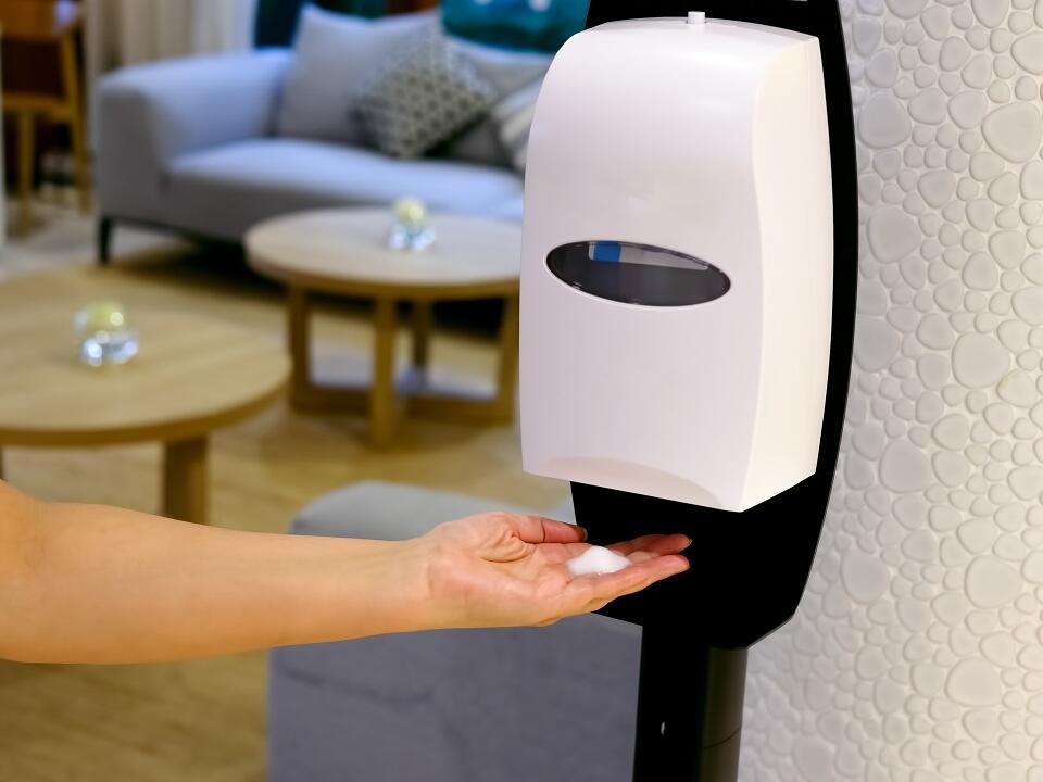 Hand sanitizer machines at Rheinland Hotel Kollektion