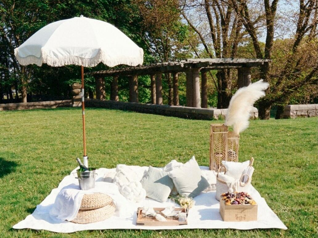 A picnic blanket with an umbrella, pillows and a pouf table on grass.