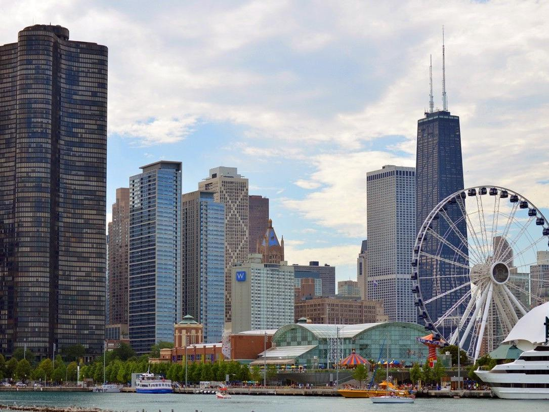 View of Navy Pier and Chicago skyline