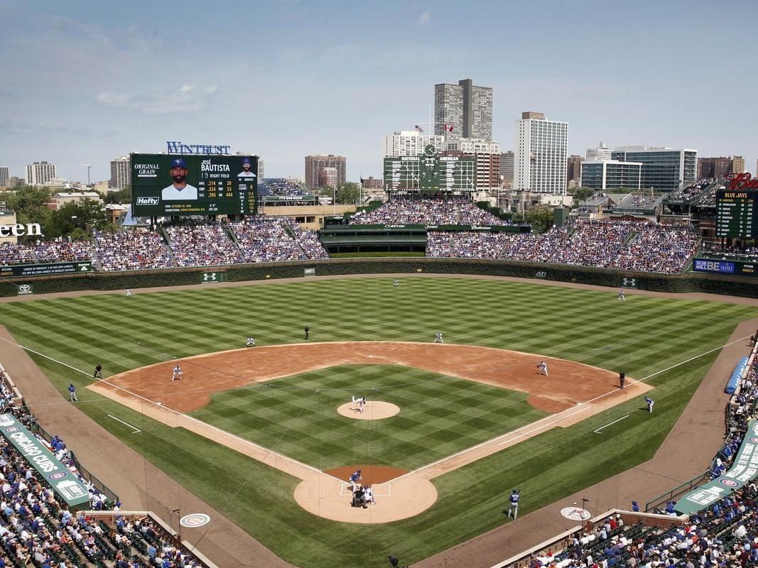View of baseball diamond at Wrigley Field