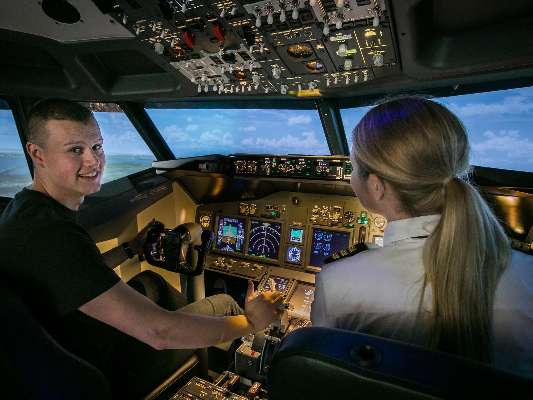 Interior of 737 flight simulator - Aviation Experience Flight Simulator