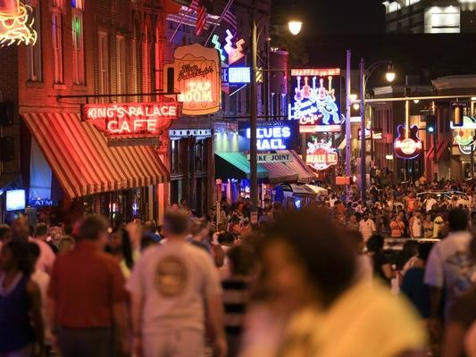 Beale Street with crowds