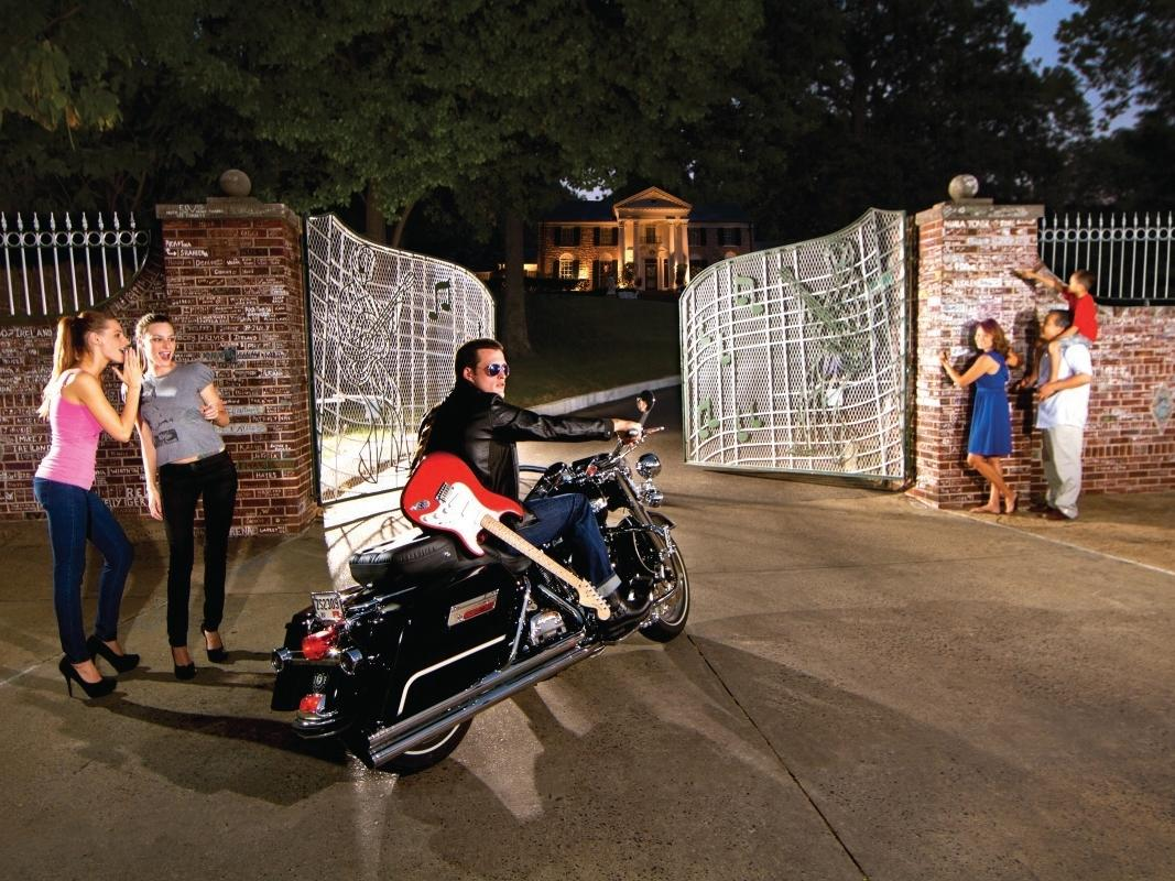 Graceland Entrance with Elvis impersonator on motorcycle
