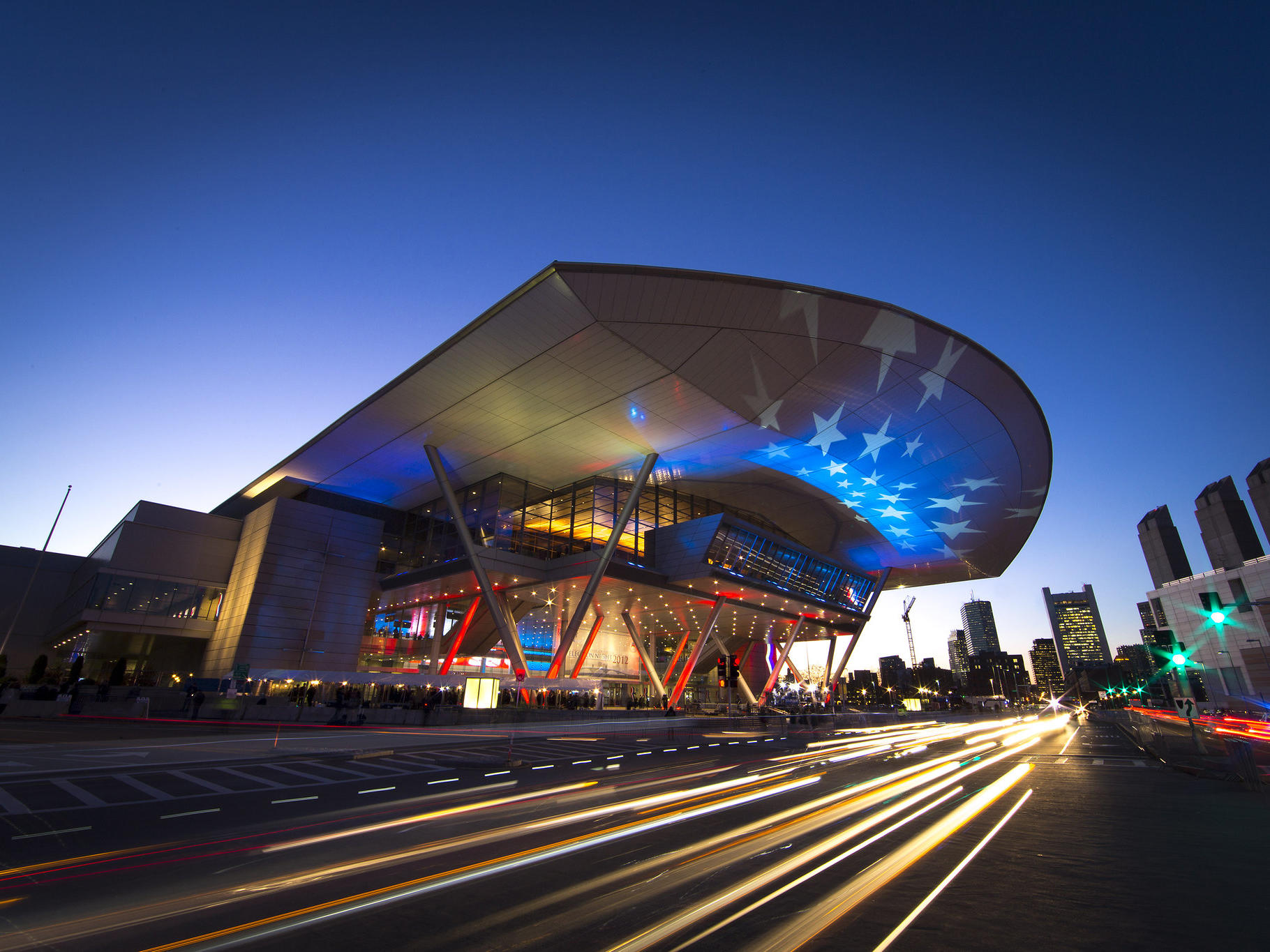 Exterior of Boston Convention & Exhibition Center at night