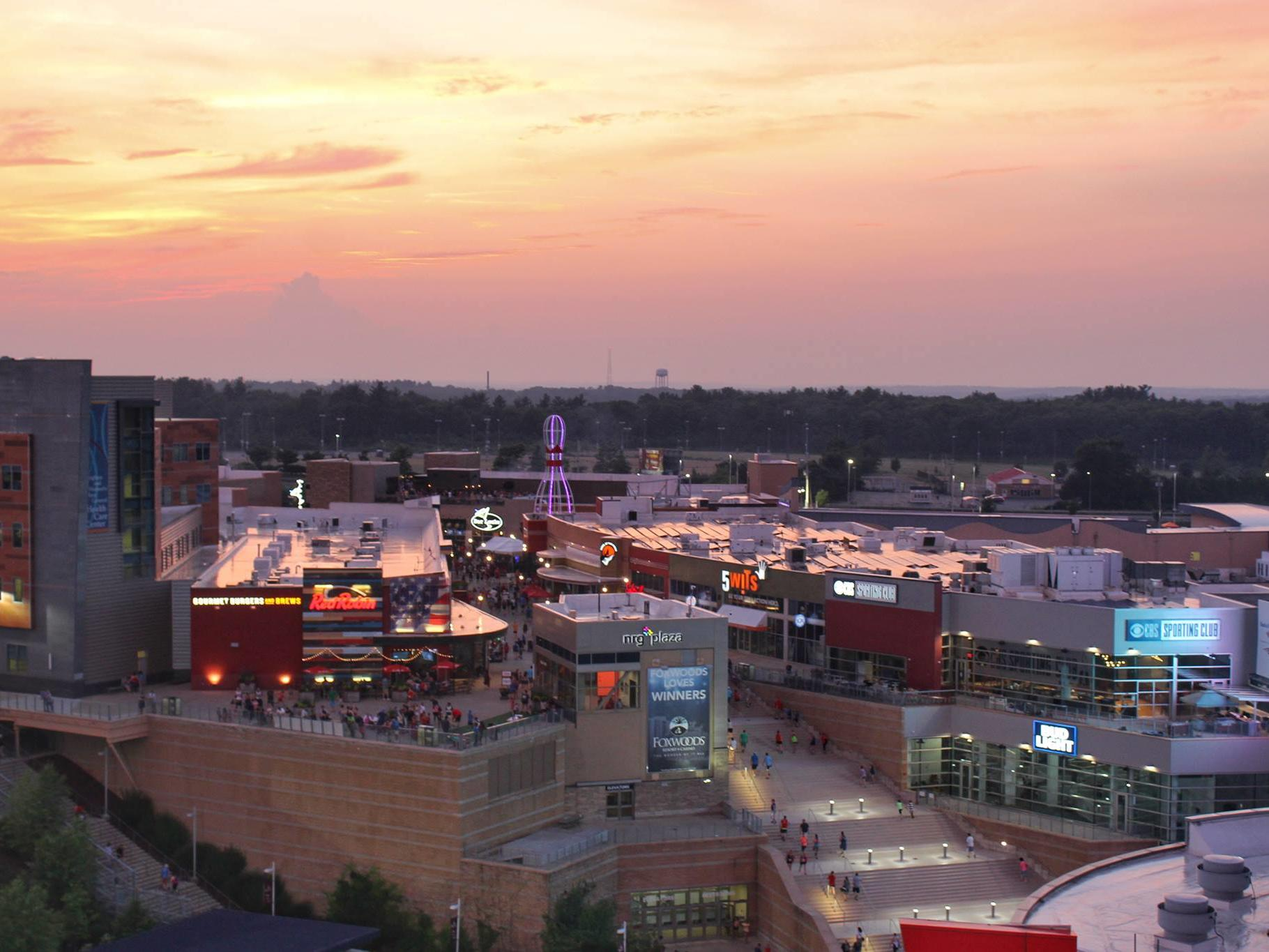Aerial view of Patriot Place at sunset