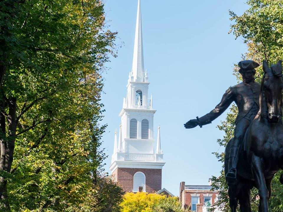 Statue with view of steeple of Old North Church