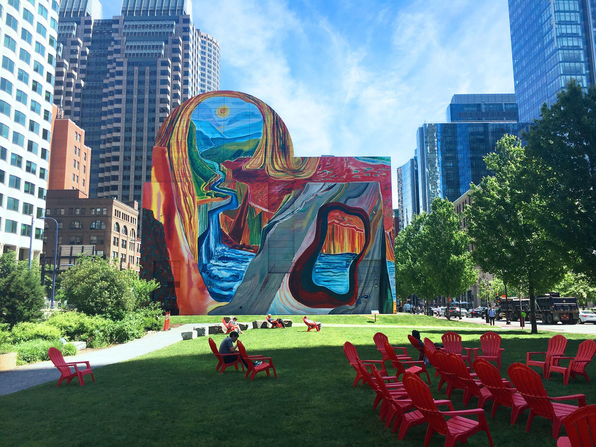 Artwork and outdoor seating at Rose Fitzgerald Kennedy Greenway