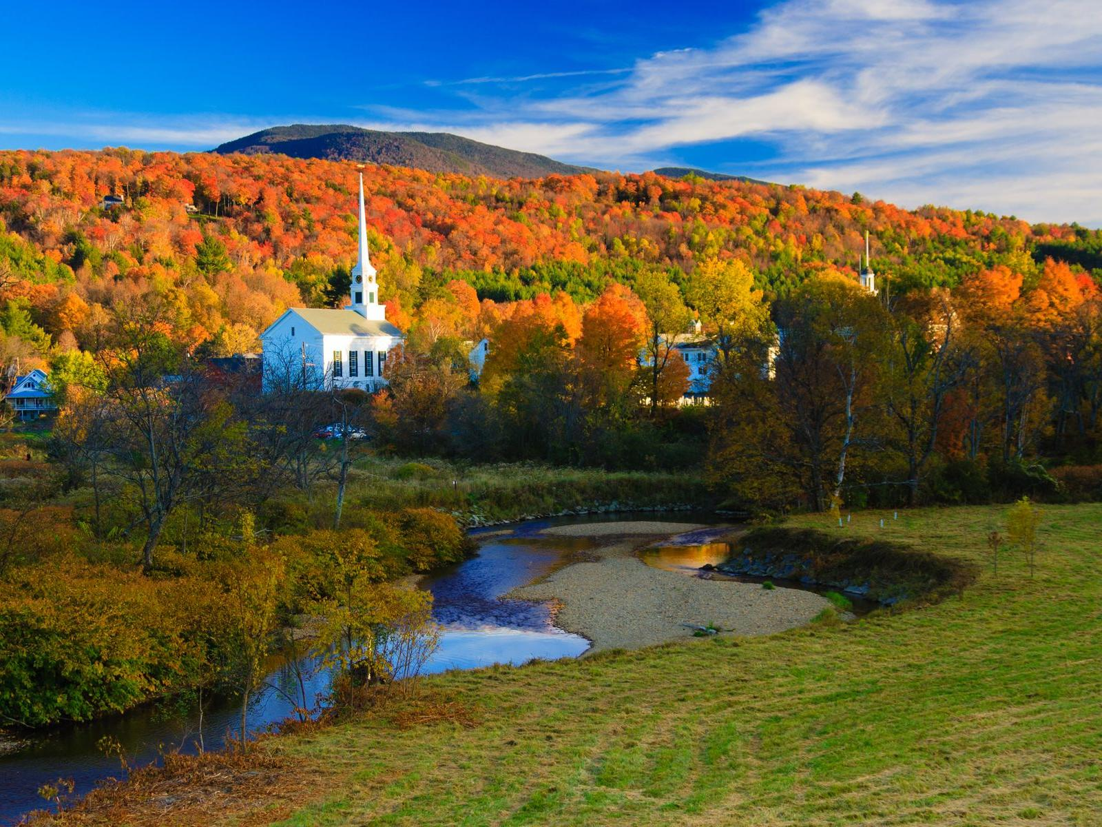 Wide photo of beautiful Stowe, Vermont.
