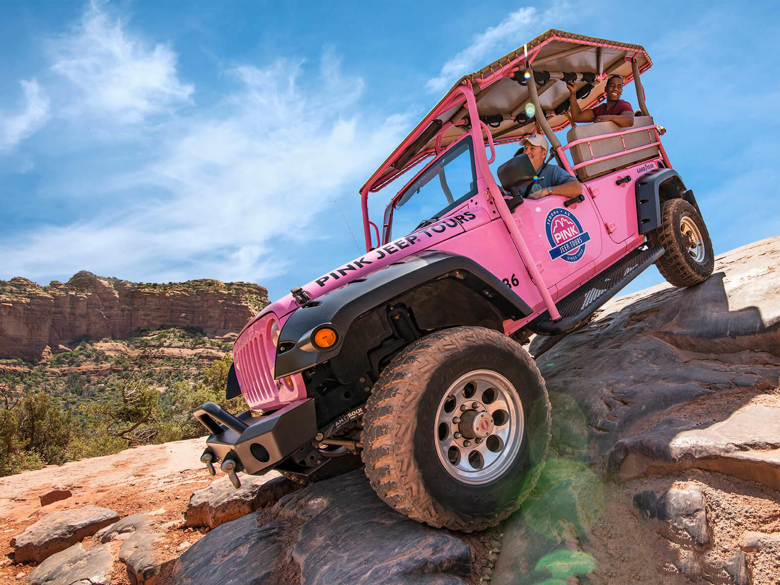 Pink Jeep Tours jeep on an Arizona off-road trek.