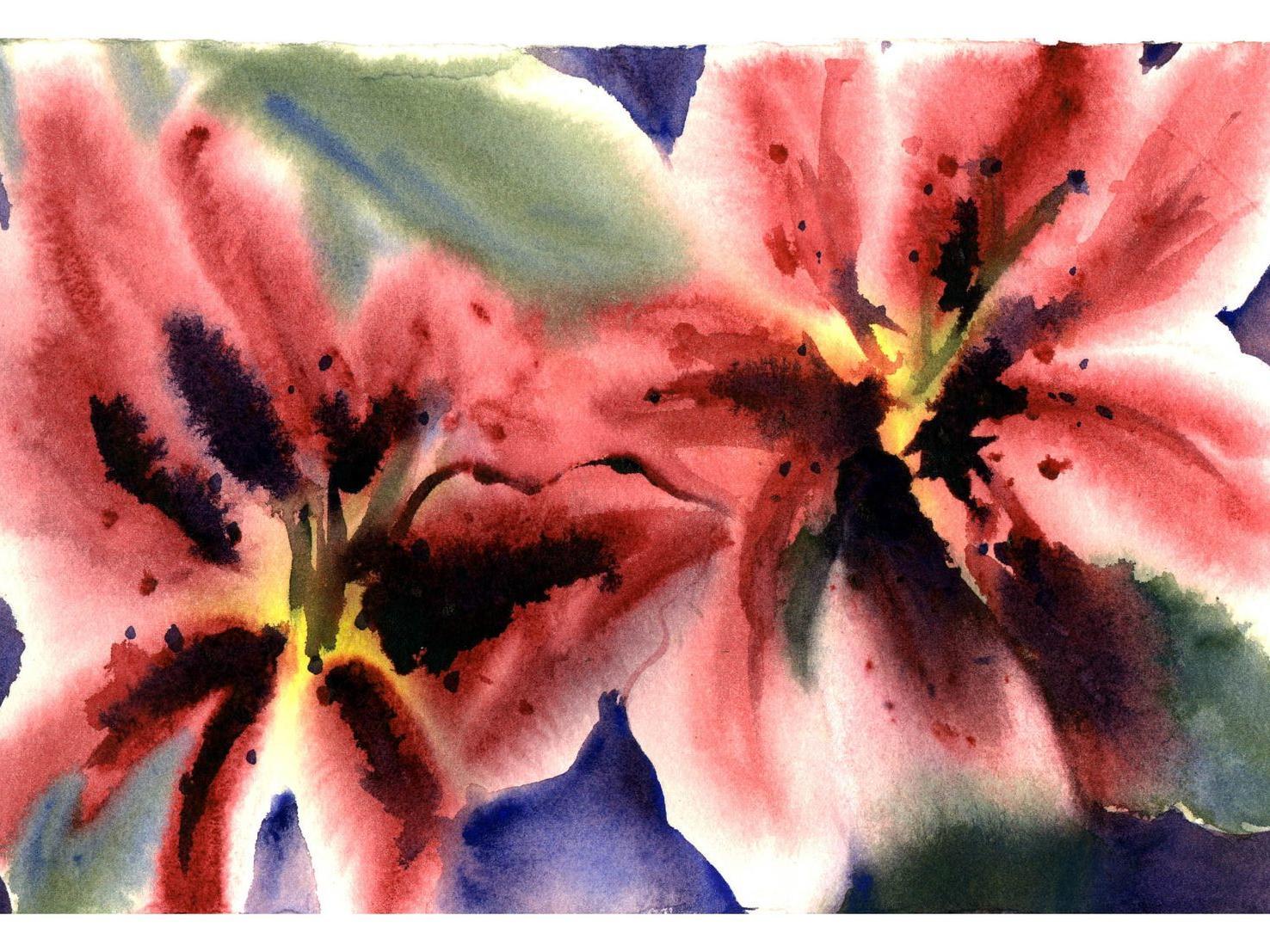 Painting of iris flowers.