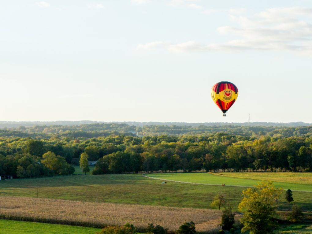 hot air balloon over expansive land