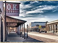 Wide photo of Tombstone and OK Corral