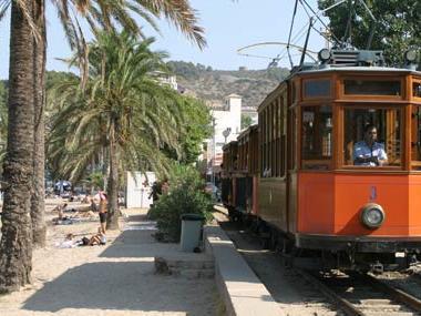 The train of Sóller near Gran Hotel Sóller in Sóller, Majorca