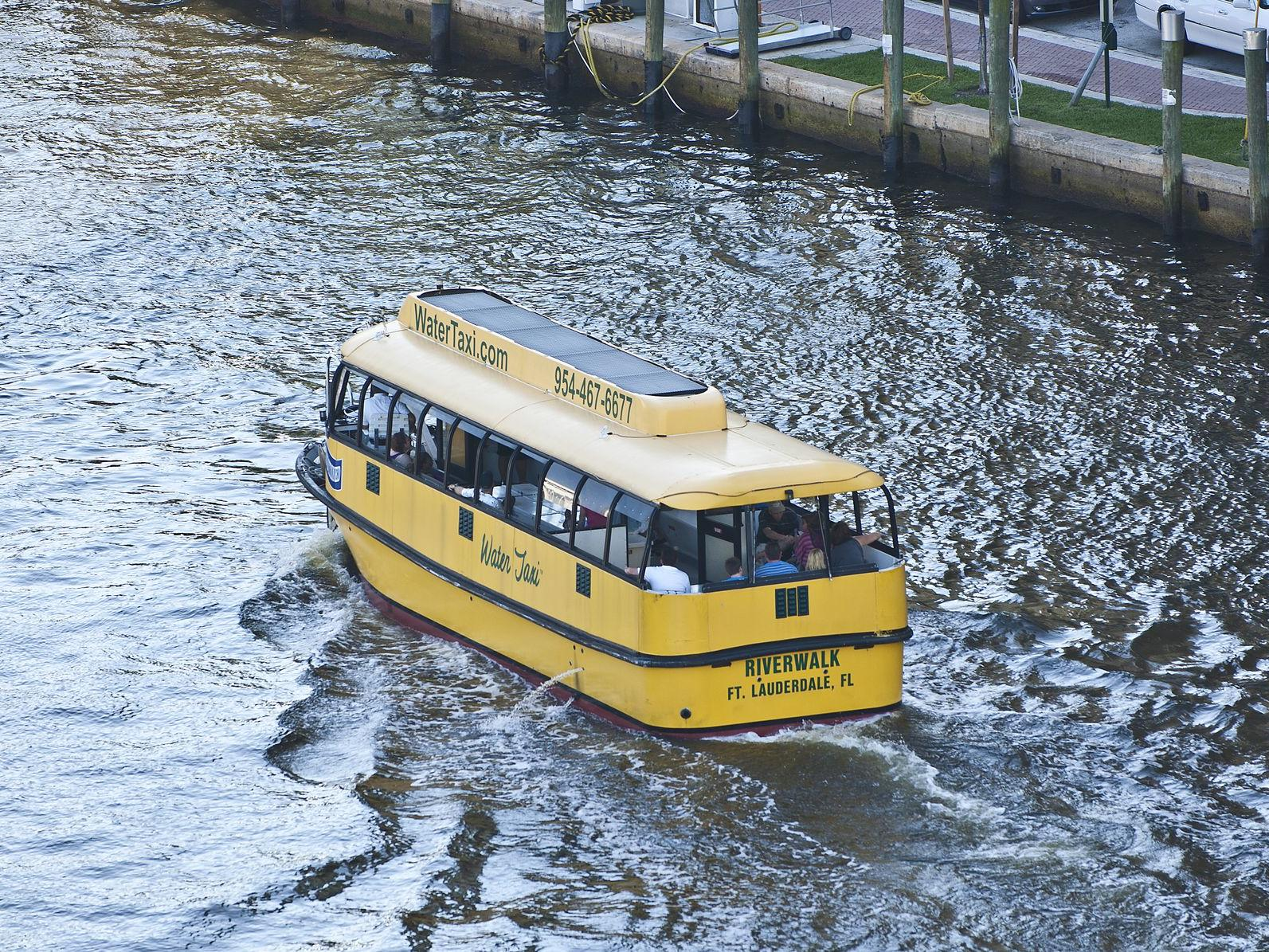 yellow taxi boat