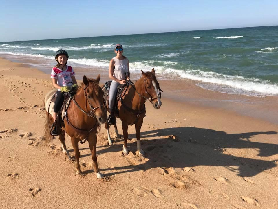 Happy friends on horses wandering the beach.