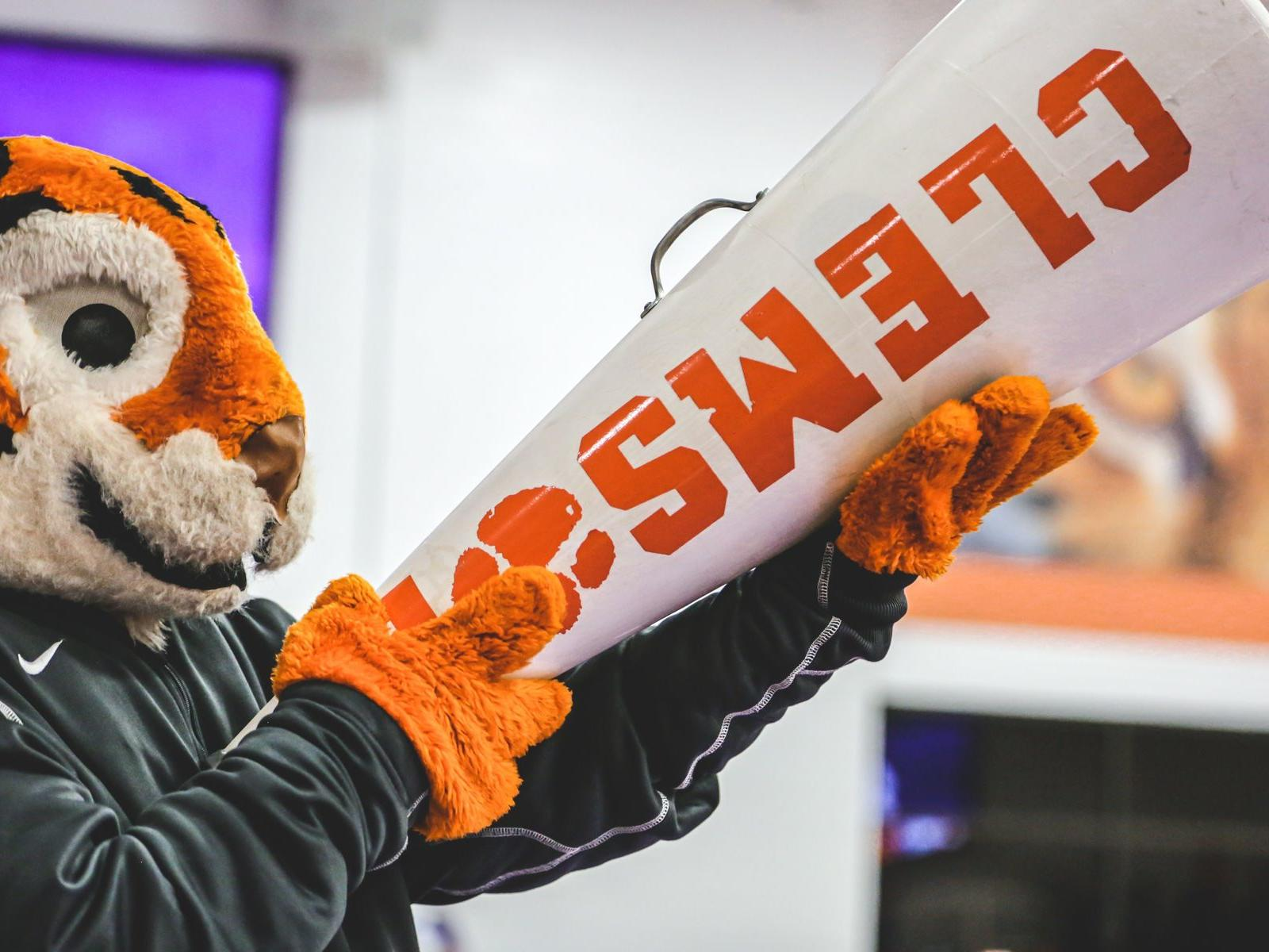 tiger mascot with clemson gear