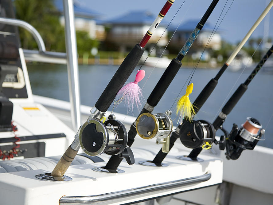 four fishing rods on holder