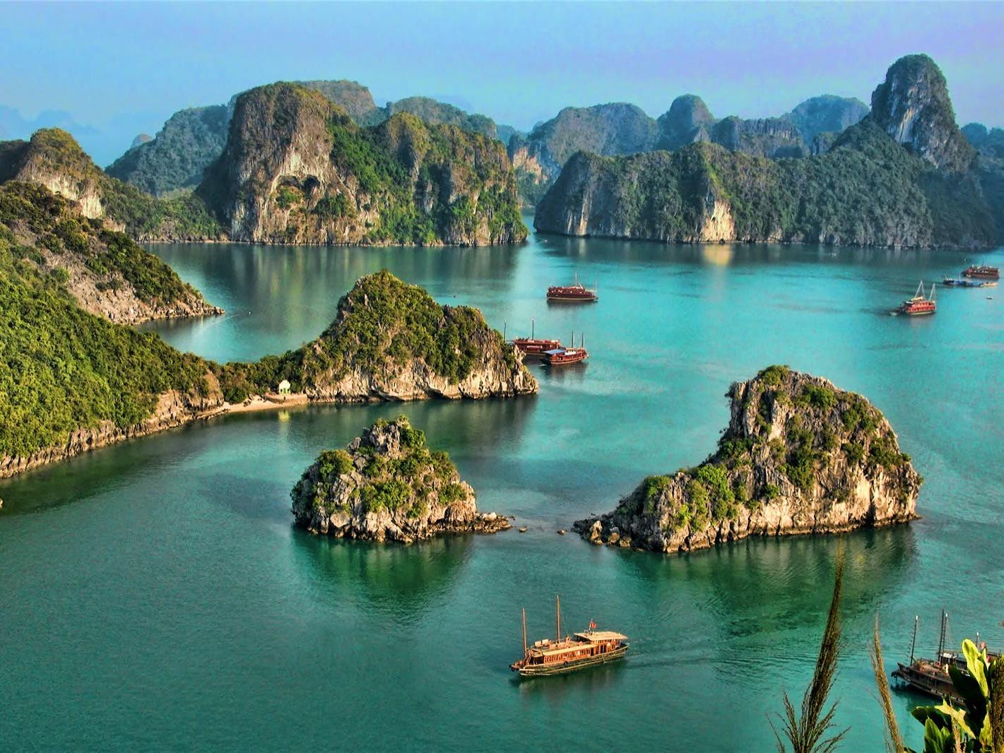 aerial view of halong bay in the day