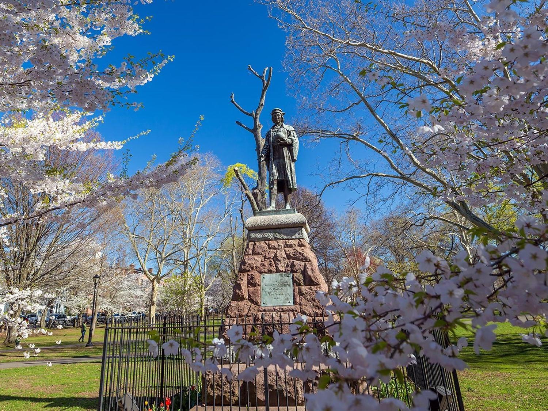 statue in park in connecticut