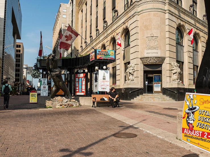 brick street of Sparks Street shopping