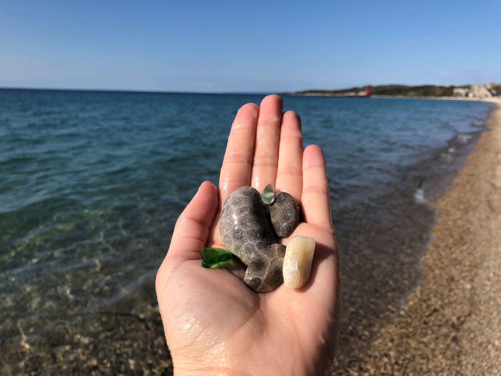 Petoskey stone hunting in Charlevoix