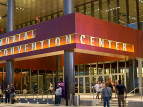 Exterior view of the Morial Convention Center at night