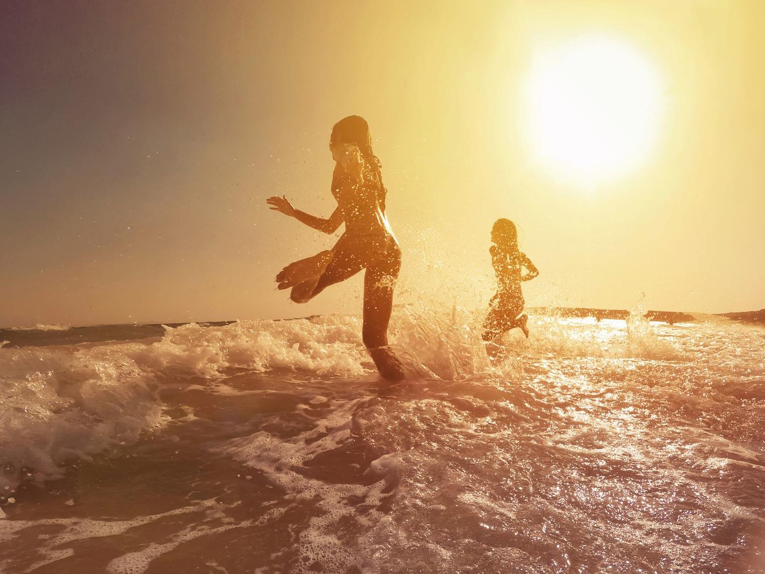 running in ocean