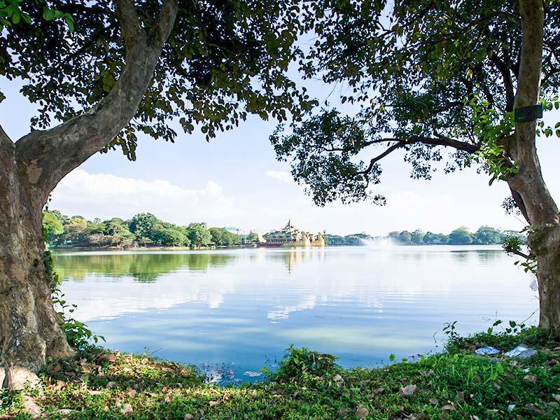 Aerial view of Kandawgyi Lake near Chatrium Hotel Royal Lake Yangon