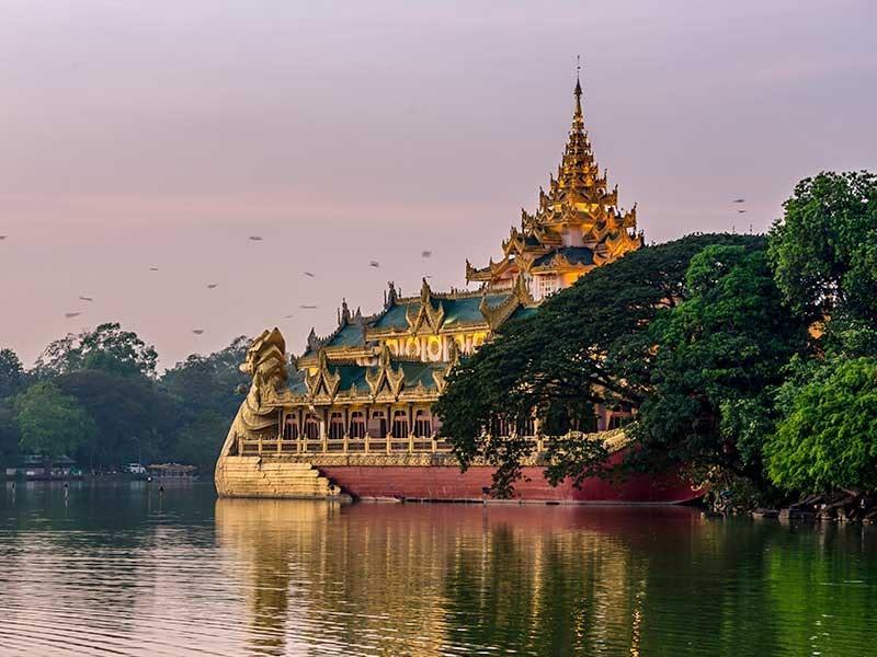 Aerial view of Karaweik Hall near Chatrium Hotel Royal Lake Yangon