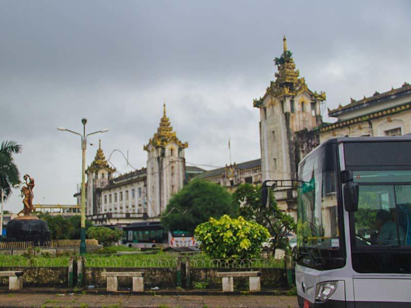 Outside of Yangon Central Railway Station near Chatrium Hotel Royal Lake Yangon