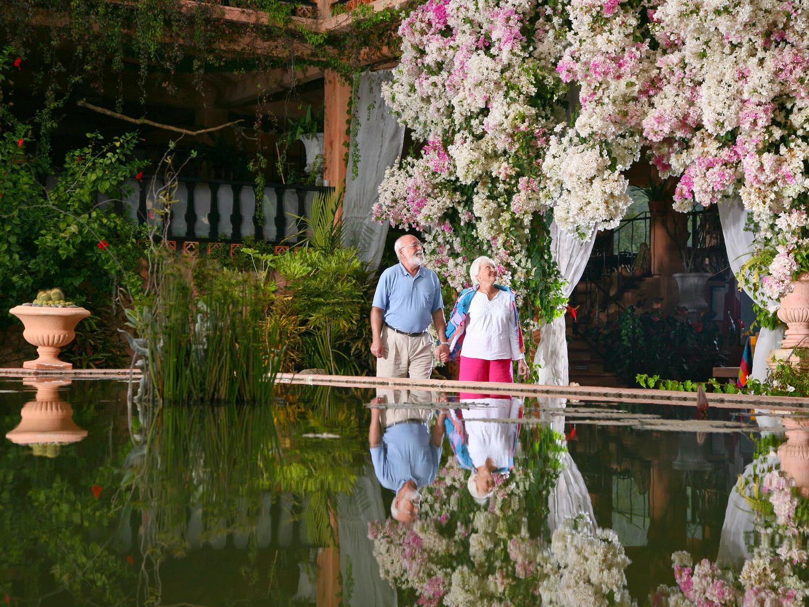 an elderly couple admiring flowers