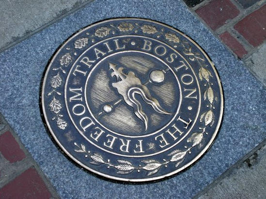 brick that says the freedom trail boston