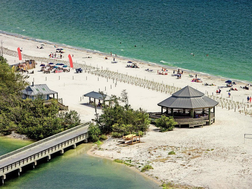 birdseye view of cabana on beach