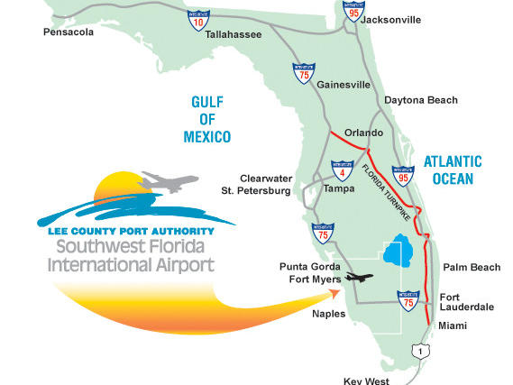 map of florida indicating SW FL Airport