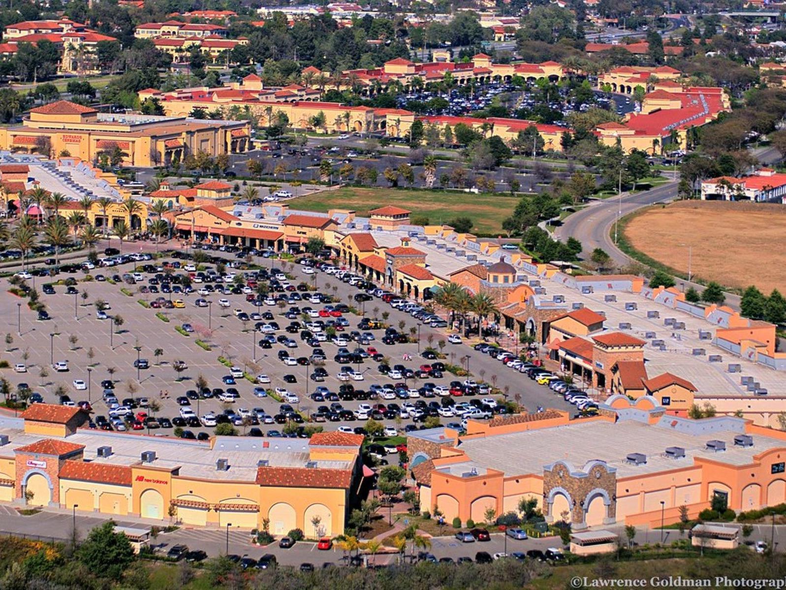 aerial shot of shopping plaza