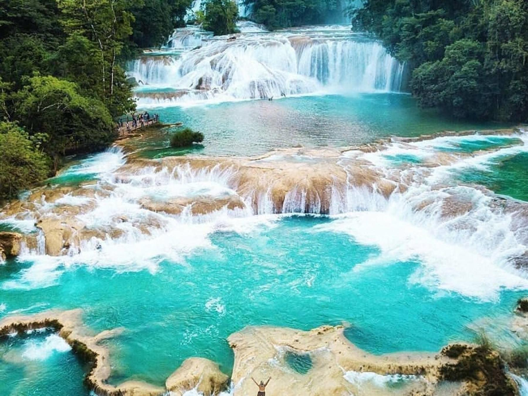 cascading waterfalls in palenque