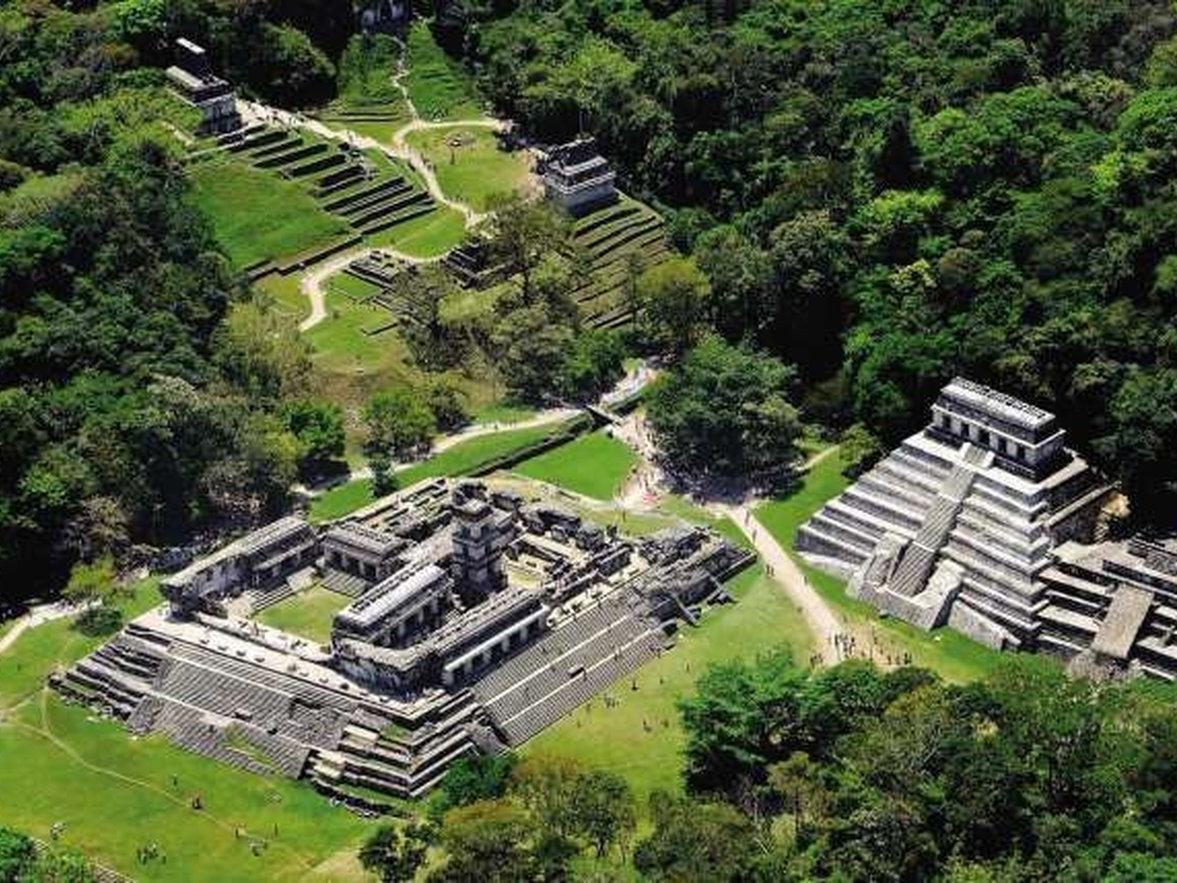 ancient ruins at the palenque architectural zone