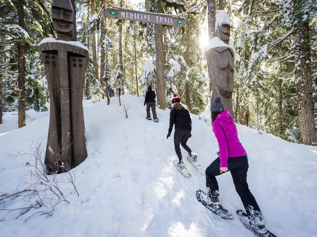 Snowshoers on Medicine Trail