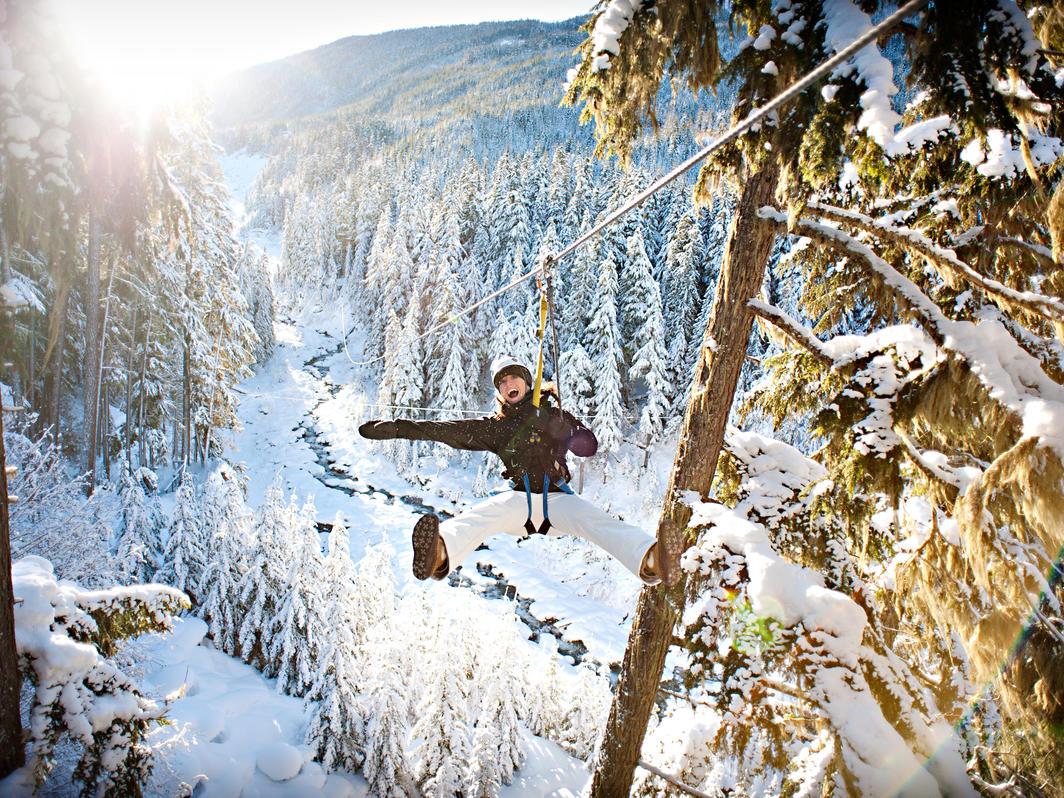 Ziplining in winter wonderland