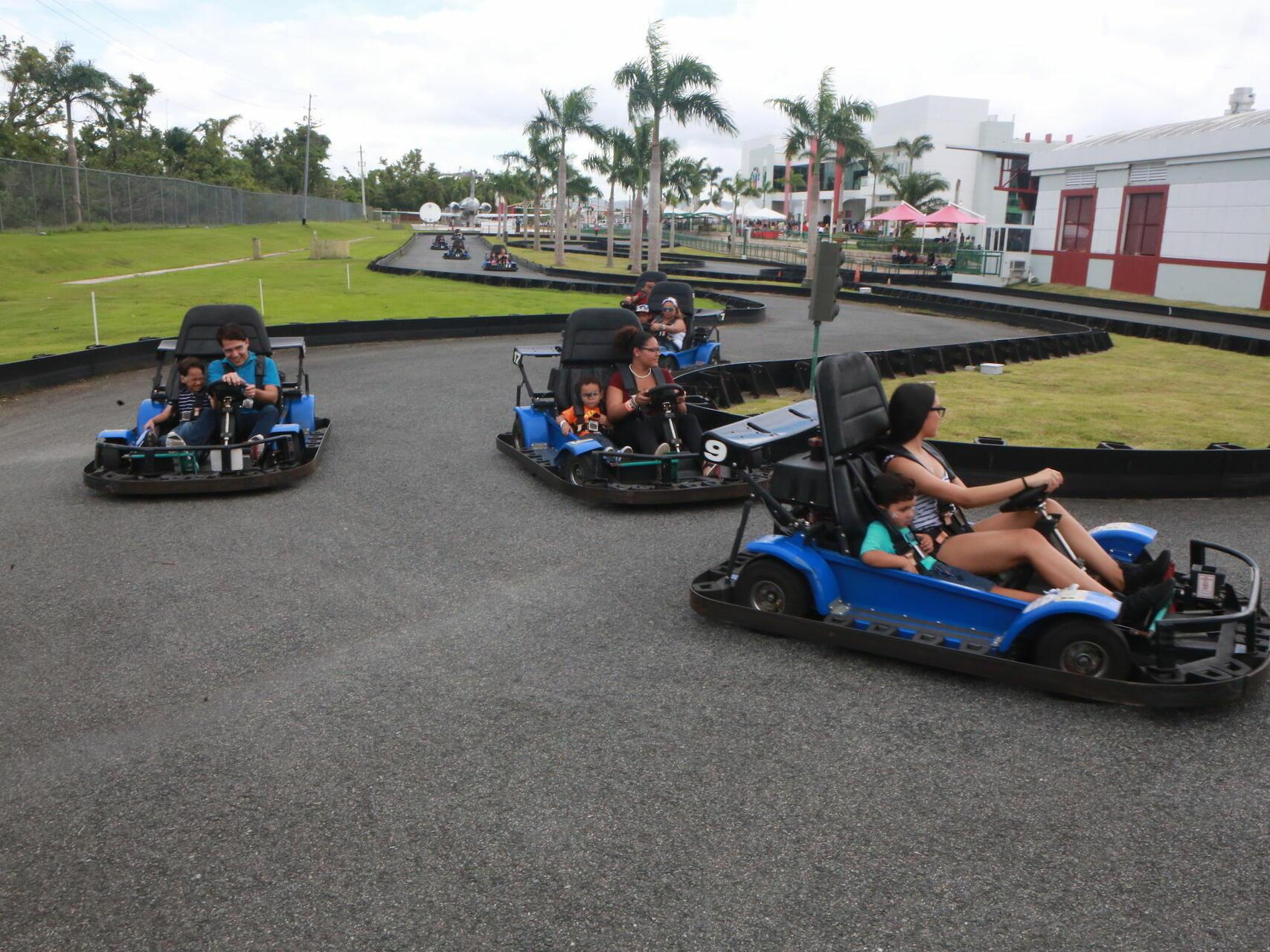 Family driving go-karts