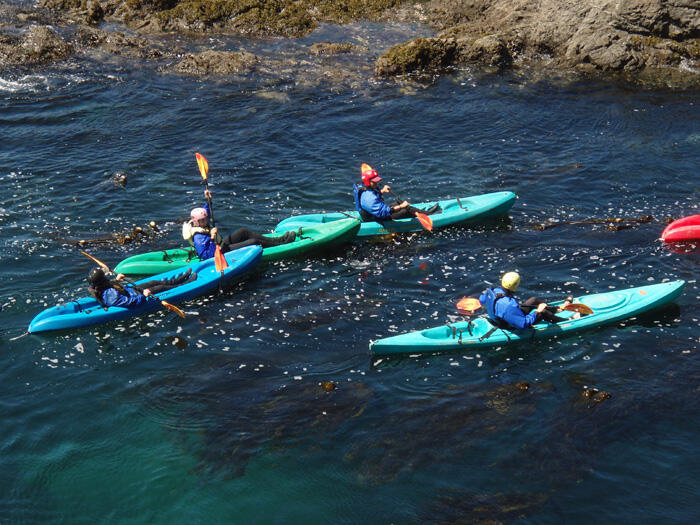 4 people rafting in Kayak Mendocino near Heritage House Resort